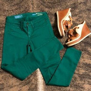 Fade to Blue Classic Skinny emerald Green jeans 26